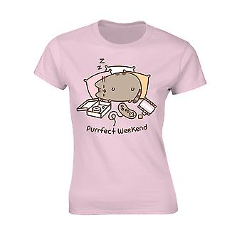 Ladies Pusheen Weekend Pink Official Tee T-Shirt Womens Girls