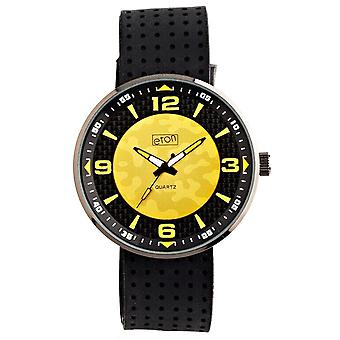 Eton Mens Watch, Black Silicone Strap, Yellow Gold Dial - 3101G-YL