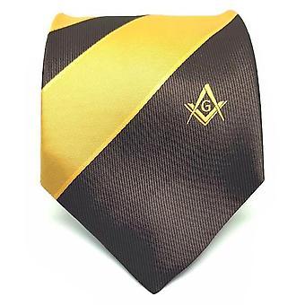 Frimurere brun og gul slips med firkantet kompass & g