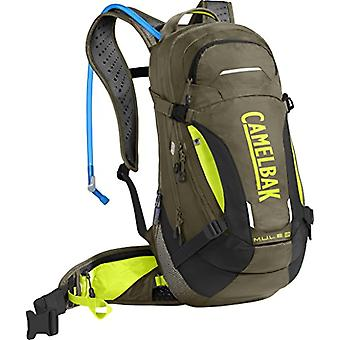 CamelBak M.U.L.E. LR Hydration Pack - Unisex-Adult Backpack - Burnt Olive/Lime Punch - M