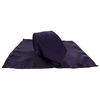 Michelsons of London Silm Satin Polyester Pocket Square and Tie Set - Purple