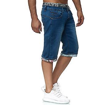 Jaylvis Men's denim shorts summer Bermuda elastic waistband casual pants print