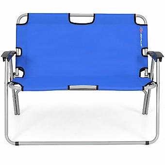 2 Seater Folding Camping Chair Garden Patio Lounger Bench Seat Garden Outdoor