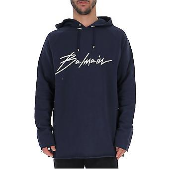 Balmain Rh03239i1326ub Men's Blue Cotton Sweatshirt