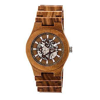 Jorden trä Gobi automatisk skelett armband Watch - oliv
