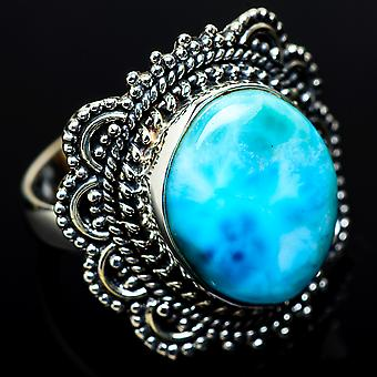 Large Larimar Ring Size 8.25 (925 Sterling Silver)  - Handmade Boho Vintage Jewelry RING11617