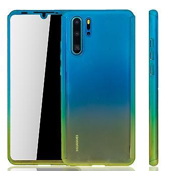 Huawei P30 Pro Ny Editition telefon mål skydds mål Full Cover Tank Skydd Glas Blå / Gul