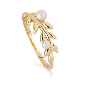 O Leaf Pearl Ring in Gold Plated Sterling Silver 270R058401925