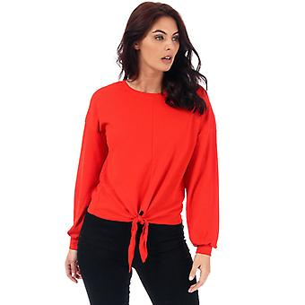 Women's Only Madeleine Knot Jersey Top in Orange