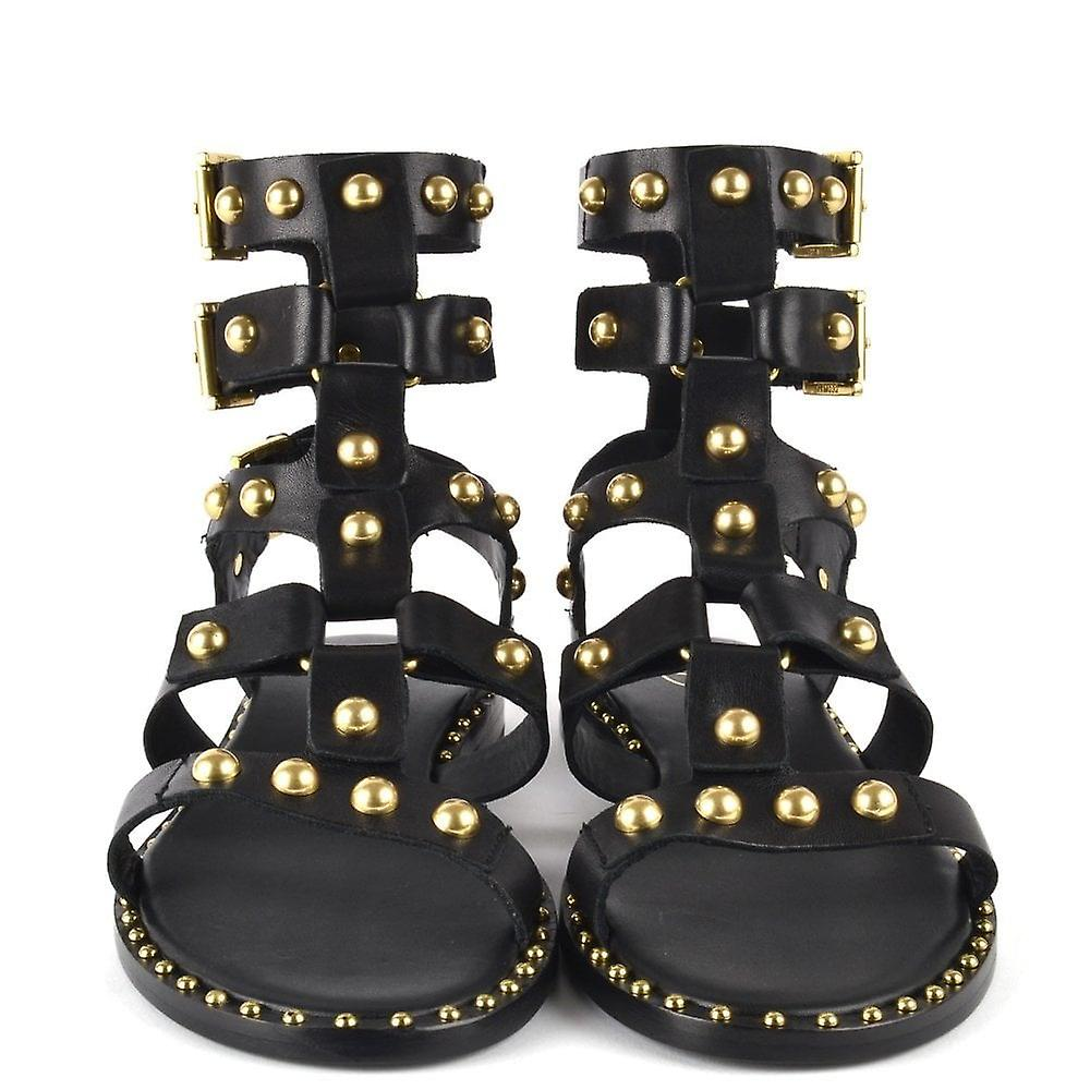 Ash Footwear Petrus Black Leather Sandals