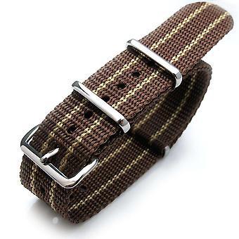 """רצועת שעון Strapcode נאט""""ו 20 מ""""מ g10 נאט""""ו ג'יימס בונד רצועת ניילון כבד אבזם מלוטש - jt21 חום וצהוב"""