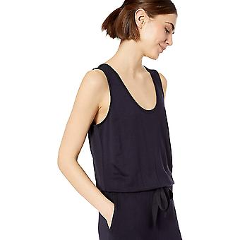 Daily Ritual Women's Supersoft Terry Sleeveless Wide-Leg Jumpsuit, Navy,Large