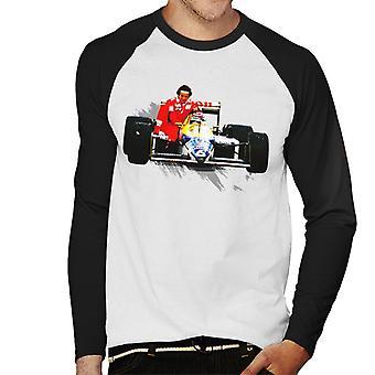 Motorsport Bilder Nelson Piquet ger Alain Prost ett lyft tyska GP Men & apos, s Baseball Långärmad T-shirt