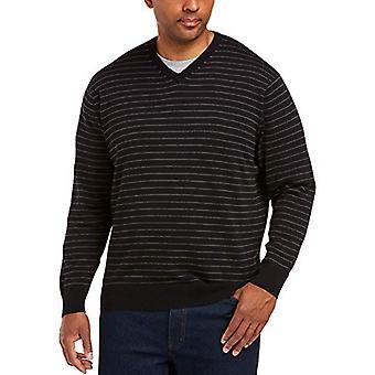 Essentials Men's V-Ausschnitt Streifen Pullover, schwarz/Kohle Heather, 5XLT