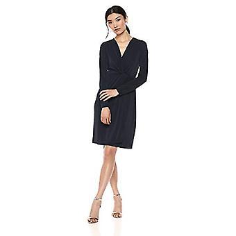 Marque - Lark & Ro Women's Long Sleeve Front-Twist Wrap Dress, Atlantique...