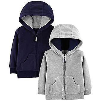 Simple Joys par Carter-apos;s Boys-apos; 2-Pack Fleece Full Zip Hoodies, Gray/Navy, Newb...