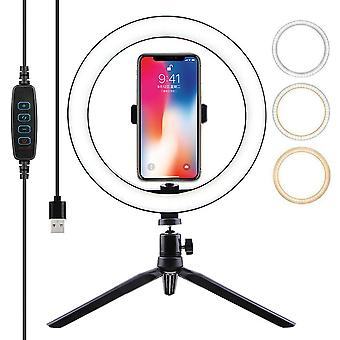 10 Inch LED Selfie Live Youtube Makeup Ring Light with Tripod Stand Phone Holder