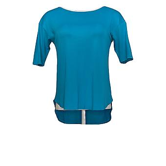 Cuddl Duds Women's Petite Top Short Sleeved Hi-Low Hem Blue A373982