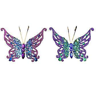 Single Gisela Graham Clip-On Glittered Butterfly Christmas Tree Decoration