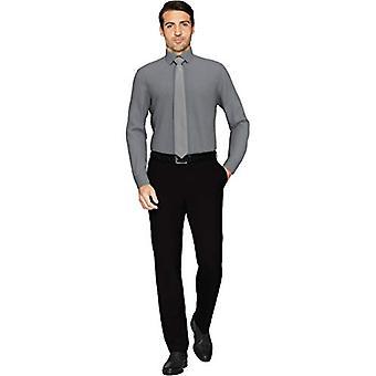 KNAPPET NED menn's skreddersydd passform spread-krage solid ikke-jern kjole skjorte, ch...