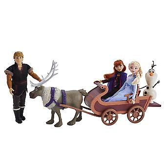 Frozen 2 - 5x Dolls with Sleigh