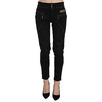 Just Cavalli Black Mid Waist Skinny Denim Trousers Pants