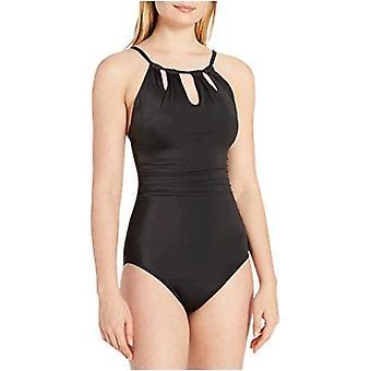 Brand - Coastal Blue Women's Control One Piece Swimsuit, Black, XL (16...