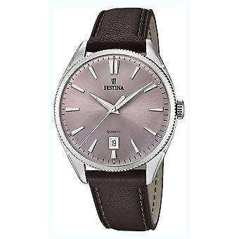 Festina Watch for Analog Quartz Men with Cowhide Bracelet F16977/4