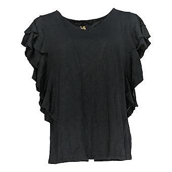 Belle By Kim Gravel Women's Regular Top Slub Knit Dbl Ruffle Black A378618