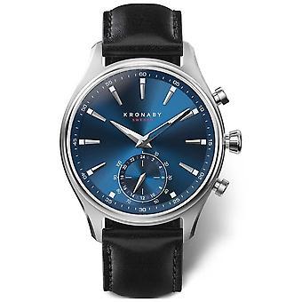 Kronaby 41mm SEKEL blauwe wijzerplaat zwart lederen band A1000-3758 S3758/1 horloge