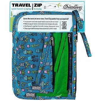 Chicobag Travel Zip Cactus - Uudelleenkäyttöinen matkalaukkupakkaus - sarja 3 kierrätettyä laukkua
