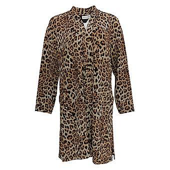 Susan Graver Women's Petite Sweater Trykt Duster Cardigan Brown A366175
