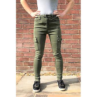 High Rise Skinny Stretch Cargo Pants Combat Broek