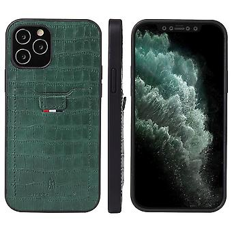 For iPhone 12 Pro/12 Case Crocodile Pattern PU Leather Card Slot Cover Green