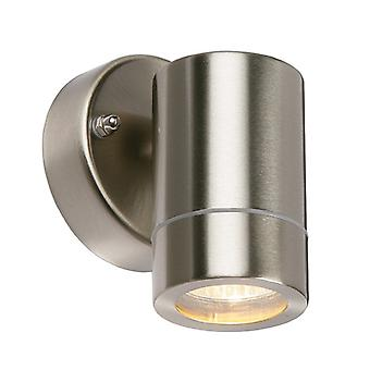 Saxby Lighting Palin - Outdoor Wall Lamp IP44 7W Geborsteld roestvrij staal en helder glas 1 licht dimbare IP44 - GU10