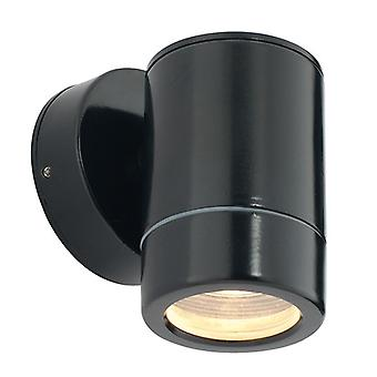 Saxby Lighting Odyssey - Outdoor Wall Lamp IP65 7W Satin Black Paint & Clear Glass 1 Light Dimable IP65 - GU10