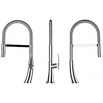 Kitchen Single-lever Sink Mixer With Spring Movable Spout And 2 Jets Shower - Low Version 48 Cm - 569