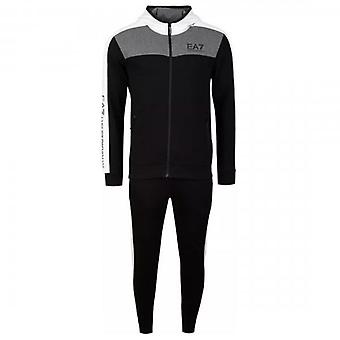 EA7 Emporio Armani Black Panelled Zip Up Jersey Hooded Tracksuit 6HPV89 PJ07Z