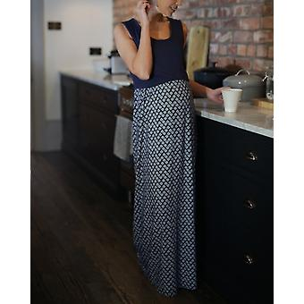 The Essential One Maternity Geo Print Navy Nursing Maxi Dress Small