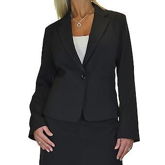 Women's Smart fullt fodrade kavaj kavaj jacka långärmad Business Office Svart 10-18