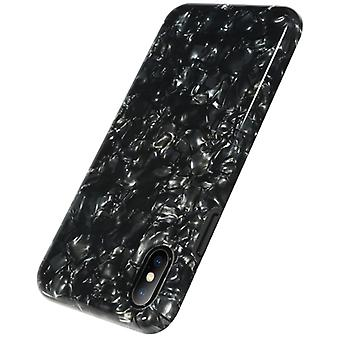 Benks voor iPhone X Soft TPU Dropproof IML Diamond Pattern Full Coverage Back Case Cover (Zwart)