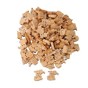 100pcs 15x18mm Wooden Dog Shaped Sewing Buttons Buckles w/ 2 Holes