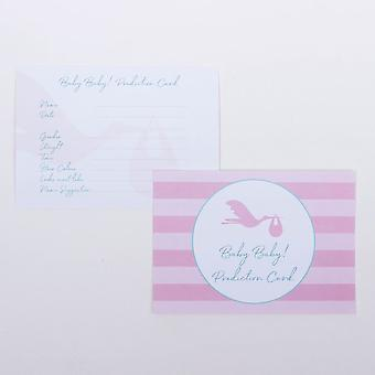 Baby Prediction Cards Pink Stork - Baby Shower Game X 6