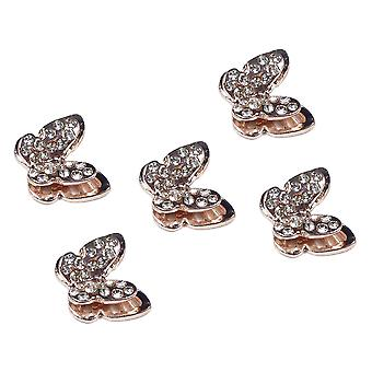 5 Rose Gold Butterfly Decorative Flatback Diamante Embellishments