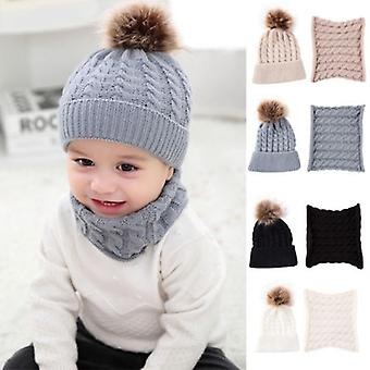 Cute Kid,, Baby Infant Vinter Varm Hæklet Strik Hat, Beanie Cap + tørklæde Solid Set