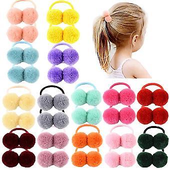 1 Pcs Fur Ball Elastic Hair Ties' Ponytail Holder Kids Rope Hair Band Bows