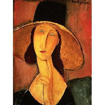 Portrait of Jeanne Hebuterne Poster Print by Amedeo Modigliani