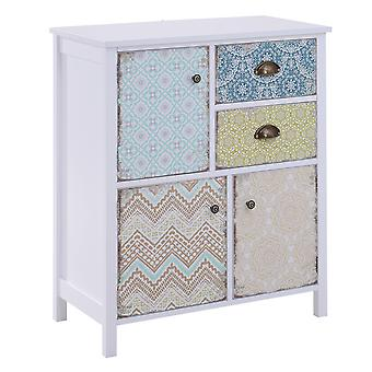 HOMCOM Drawer Table Sideboard Multi-purpose Storage Chest Shabby Chic Entryway Living Room Bedroom Furniture Organizer Unit