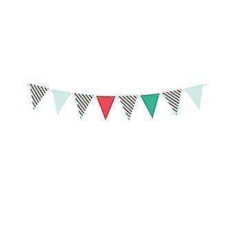 Drapeau en papier Bunting pour Noël en rouge blanc et vert 1,3 m