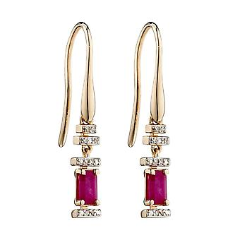Elements Gold 9ct Ruby Bagette Yellow Gold Earrings GE2355R
